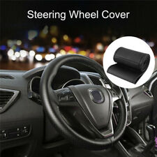 38cm DIY PU Leather Car Auto Steering Wheel Cover With Needles and Thread Black