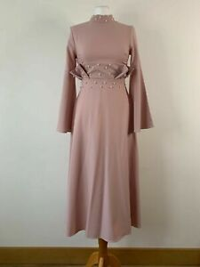SHEIN Pearls Beaded Bell Sleeve Pleated Detail Pink Dress Size XS 8