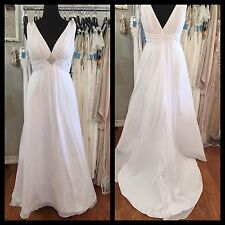 White V-Neck Wedding Gown 20W