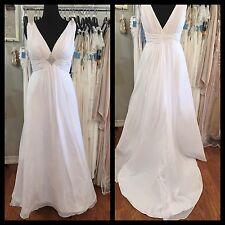 White V-Neck Wedding Gown 22W