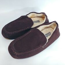 Eddie Bauer 8-9  Slippers Shoes Jesse Faux Fur Men Brown Suede Leather Moccasin