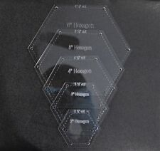 "1/8"" Clear Acrylic Laser Cut Quilting Templates - Hexagon 2-6 Inch"