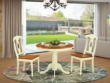 3pc dinette kitchen dining set table with 2 wood seat chairs buttermilk & cherry