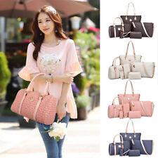 UK Set of 5 Ladies Designer PU Leather Large Tote Bag Shoulder Satchel Handbag