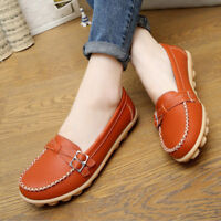 Women's Soft Leather Loafers Comfort Flats Driving Shoes Indoor Outdoors Slip-on