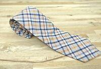Vintage Tie Madras Plaid Cotton Shelton Ltd SKinny Narrow Retro Orange blue
