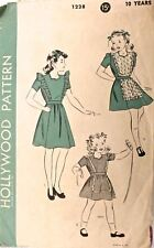 Vtg 1940s Sewing Pattern Hollywood #1228 Child's Dress 10 Years
