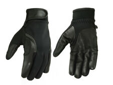 Mens Black Perforated Leather Textile Lightweight Motorcycle Riding Gloves