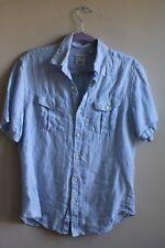 Baird McNutt M Blue 100% Linen Murano Slim Fit Short Sleeve Button-Front Shirt