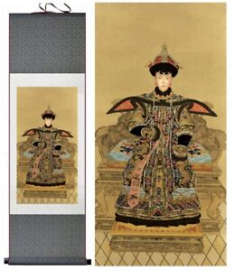 Chinese Qing Dynasty Empress Portrait Print Large Silk Scroll New