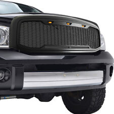 2006-2008 Dodge Ram 1500 Grille Raptor Style With Amber LED Lights Matte Black