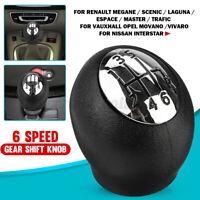 6 Pommeau Levier Vitesse chrome noir pour Renault Megane Clio Trafic/Opel Vivaro