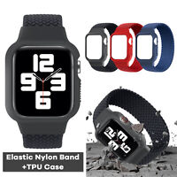 For Apple Watch Series SE 6 5 4 3 38/40/42/44mm iWatch Elastic Nylon Band Case