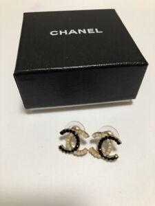 CHANEL Earrings Coco Mark Motif Gold Color Kawaii Cute Used Item