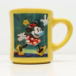 Disney Store Retro Minnie Mouse Coffee Mug 12oz Yellow Blue Vintage Diner Cup