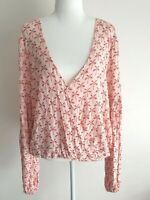 Billabong Palm Tree Pink Boho Long Sleeve Faux Wrap Shirt Size 12