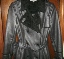 NWT NEW MARC NEW YORK RAGE BLACK FAUX FUR BELTED SHEARLING COAT S $398