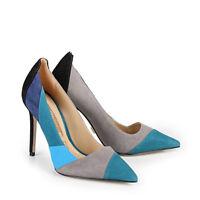 Buffalo Damen Pumps Veloursleder blau/mehrfarbig 41 Neu ZS 7398-16 H-17064