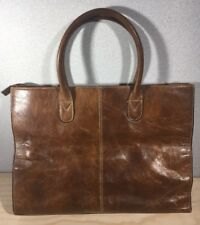 Vintage Distressed Leather Attache Briefcase Brown
