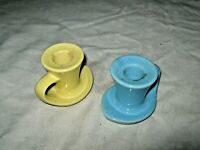 A Pair of Retro 50's Australian Studio Pottery Blue & Yellow Finger Candlesticks