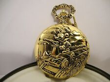 DISNEY MICKEY MOUSE ENGINEER POCKET WATCH W/MOUNTAINS & ROUND TIN LOWER PRICE