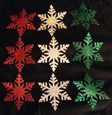 "LOT 20 Martha Stewart 2.5"" Fancy Snowflake Paper Punch Die Cut GLITTER STICKERS!"
