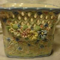 Vtg XL Ceramic FLORAL PLANTER w/Pastel Pink~Blue~White~Yellow~Green Decor     31