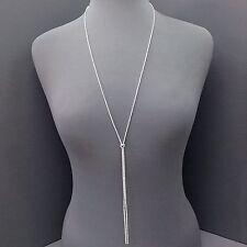Stylish Elegant Long Dainty Silver Clear Rhinestone Designer Inspired Necklace