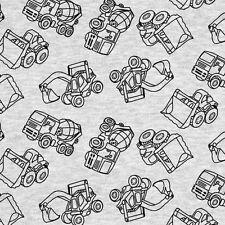 Baumwoll Jersey Baufahrfeuge schwarz auf grau meliert Kinderstoff Meterware