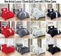 3 Pcs Duvet Cover Quilted Handmade Sequin Wrinkled Design Pattern Bedding Quilt