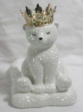 Bath & Body Works Foaming SOAP holder Ceramic Gold Crown GLITTER POLAR BEAR CUB