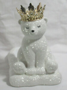 Bath & Body Works Foaming SOAP holder Ceramic Gold Crown GLITTER POLAR BEAR CUB