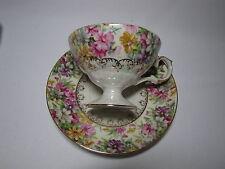 Vintage Lusterware Pedestal Tea Cup and Saucer Chintz Iridescent Teacup