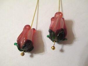 10 Dark Transparent Rose Green Leaves 12x9mm Lampwork Flower Glass Beads DNDR