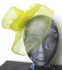 yellow feather fascinator millinery burlesque headband wedding hat hair piece