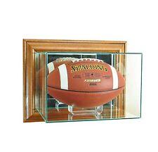 New Wall Mounted Football Display Case GLASS UV Walnut  Molding FREE SHIPPING