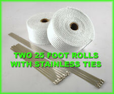 "WHITE MOTORCYCLE PIPE HEADER EXHAUST WRAP KIT STAINLESS TIES 2 ROLLS 2""X 25 FEET"