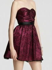 AQUA ~ Pink & Black Lace Sweetheart Strapless Flare Cocktail Dress 12 NEW $188