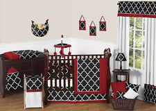 Sweet Jojo Designs Red & Black Geometric Trellis Baby Boy Girl Crib Bedding Set