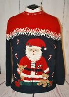 NUTCRACKER Santa Candy Canes Bear UGLY CHRISTMAS Women's Black Sweater - Large