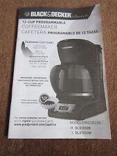 Black & Decker Coffeemaker INSTRUCTION MANUAL ONLY Model DLX1050B