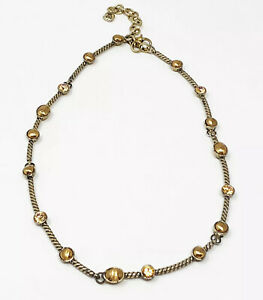 """Brighton """"Monte Carlo"""" Antique Gold Tone Yellow AB Crystal Station Necklace"""