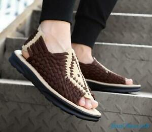 Mens sandals shoes hand made knitted outdoor summer open toe Hand-made Leisure