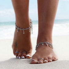 Silver Fashion Tibetan Flower Beads Ankle Tassel Beach Bracelet Anklet Jewelry