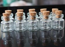 Dollhouse Miniatures 15mm 10 Glass Jar Bottle Cork Stopper Food Groceries Supply