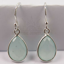 Checker Faceted AQUA CHALCEDONY Gemstones Earrings 925 Sterling Silver FINE EDH