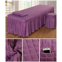 "MagiDeal 1 Set Massage Table Skirt Bed Valance Sheet Beddings 75x28"" Purple"