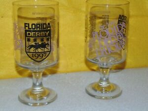 Pair of 1997 Florida Derby Commemorative Stemmed Glasses