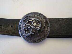"""Vtg Diesel 'Only The Brave' Skull Buckle Black Cow Hide Leather Belt 95cm 37.5"""""""
