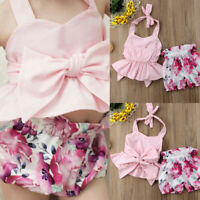 2PCS/Set Newborn Infant Baby Girls Bow Strap Top Floral Print Shorts Outfits US